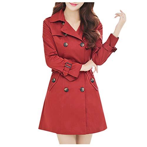 Deloito Damen Wolle Windjacke Zweireiher Mantel Elegantes Langarm Trenchcoat Arbeitsplatz Mode Jacke (Rot-04, Medium)