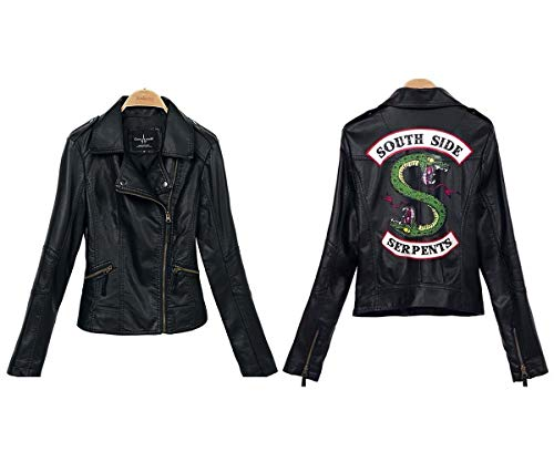 StMandy Riverdale Jacket Girls rote Schlangenjacke Biker Gang Southside Black Leather Jacket-3