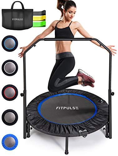 "FITPULSE Mini Trampoline for Adults Rebounder Trampoline with Handle - 40"" Workout Trampoline for Adults Fitness Trampoline Small Trampoline Exercise Trampoline for Adults Indoor Trampoline Blue Ring"