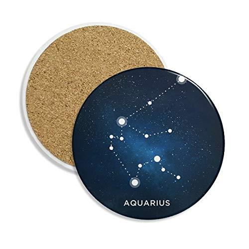 Wassermann Constellation Sternzeichen Keramik Untersetzer Tasse Halter saugfähig Stein für Getränke 2Geschenk