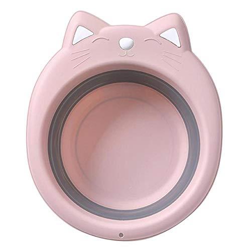 Alberta Tragbare Falteimer Folding Basin Entzückende Katze Faltbarer Waschbecken Cartoon Folding Waschbecken Car Wash Heim-Blau (Color : Pink)
