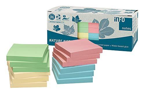 Global Notes 5654-88box - Memo adesivi Info Nature Recycling 75 x 75 mm, 100 fogli per blocchetto, imballati in scatola di materiale riciclato, giallo/blu/verde/rosa, 12 pz.