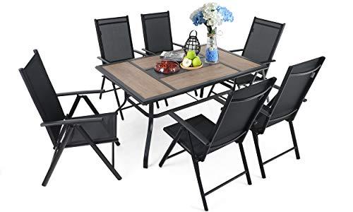 "MFSTUDIO 7PCS Outdoor Patio Dining Set, 6 Folding Reclining Chairs, 1 Rectangular Table Woodlike Top with 1.57"" Umbrella Hole, Lawn Backyard Garden Furniture Sets"