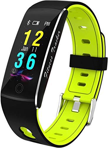 JSL Reloj de pulsera de fitness – Pulsera inteligente con Bluetooth y control de frecuencia cardíaca, resistente al agua, cristal templado, tamaño verde