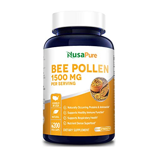 Bee Pollen 1500mg 200 Veggie Caps (100% Vegetarian, Non-GMO & Gluten Free) Naturally Occurring Proteins and Aminoacids*