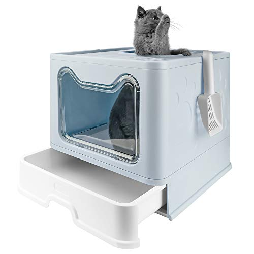 Bolux Foldable Cat Litter Box with Lid, Extra Large Litter Box with Cat Litter Scoop, Drawer Type Cat Litter Pan Easy to Scoop & Low Tracking ( Blue, 20' L x 16' W x 15' H )