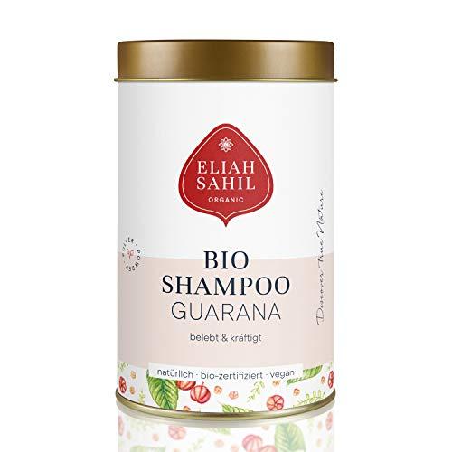 GUARANA Bio Pulver Shampoo von ELIAH SAHIL I Gegen HAARAUSFALL I 100 gr. Shampoopulver ca. 30 x waschen I 100% Bio zertifizierte Naturkosmetik I Vegan und Tierversuchsfrei I Damen und Herren Shampoo