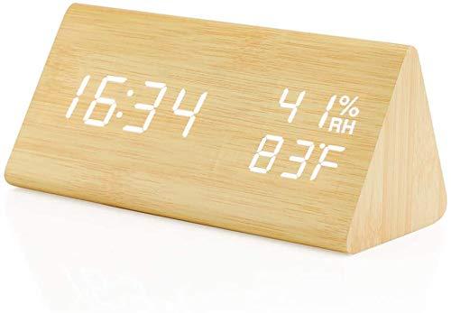 置き時計 置時計 目覚まし時計 温度湿度計 カレンダー おしゃれ デジタル 大きなLED数字表示 木目調 北欧 木製 木目 アラームクロック ウッド シンプル 多機能 音声感知 音感センサー 省エネ USB/乾電池給電 (木目調)