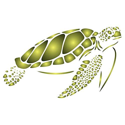 Schablone mit Meeresschildkröten-Motiv, wiederverwendbar, Meeresmeerermotiv, Schablonen zum Bemalen – Verwendung auf Papierprojekten, Wänden, Böden, Stoff, Möbel, Glas, Holz usw. S