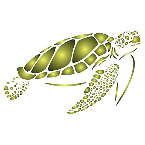 Sea Turtle Stencil, 5 x 3 inch (S) - Sea Ocean Nautical Seashore Reef Fish Stencils for Painting Template