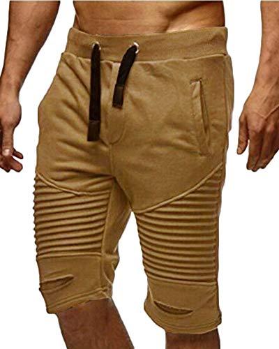Sweatshorts De Verano Rayas para Plisado A Hombres Cintura Elástica Bermudas Pantalones...