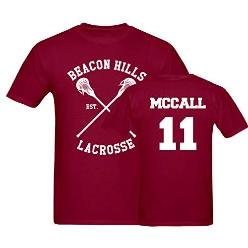 Fruit loom MC Call Maglietta t-Shirt Lacrosse 11 bordeux Maniche Corte Unisex Lacrosse Beacon Hills (S)