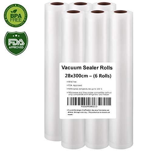 Vakuumrollen, Profi- Folienrollen 6 Vakuumrollen 28x300cm, Folienbeutel für Folienschweißgerät/Vakuumiergerät, ideal für sous vide Kochen- Humbgo