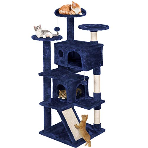 YAHEETECH Cat Tree Scratcher Play House Condo Furniture 55inches