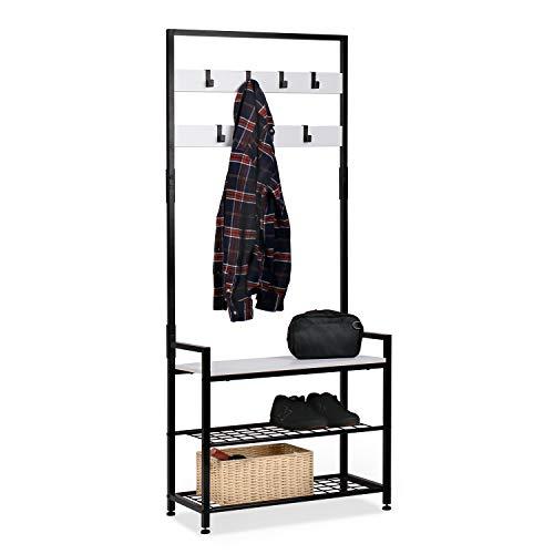 HOMEKOKO Entryway Hall Tree Storage Shelf, Coat Rack Shoe Bench, Wood Look Accent Furniture with Metal Frame, 3 in 1 Design