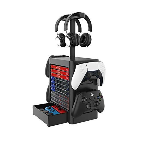 Game Storage Tower - Soporte vertical para 10 CD Game Disc y 4 mandos / soporte para auriculares compatible con PS5/PS4/Xbox Series/XboxOne/Nintendo Switch