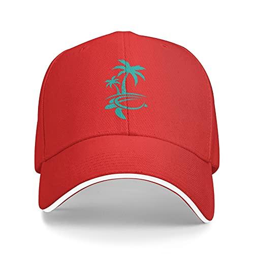 Hawaiian Palm Tree and Sea Turtle Boutique Gorra de béisbol Unisex Imprimir As-Hip Hop Estilo Americano Clásico Snapback Sombreros Negro, rosso, Taille unique