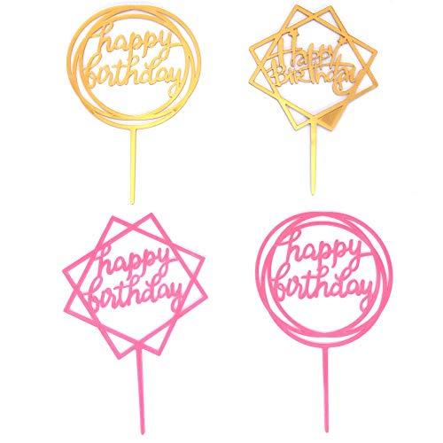 20枚セット ケーキトッパー ケーキ挿入カード お誕生日おめでとう 飾り付け ゴールドパーティー装飾 ケーキ装飾用品 装飾 ケーキ挿入カード HAPPY BIRTHDAYの文字