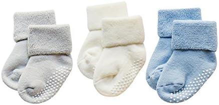 DEBAIJIA 3 Pares De Bebé Calcetines de Algodón Antideslizante Grueso Recién Nacidos 0-12 Meses para Niños Niñas 3 Colores Gris/Blanco/Azul