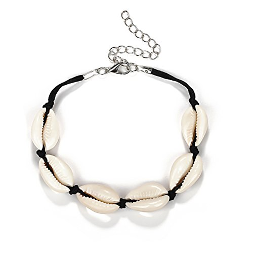 Sommer Strand natürliche Shell Hand Hawaii Boho Link Armbänder für Frauen (Black rope)