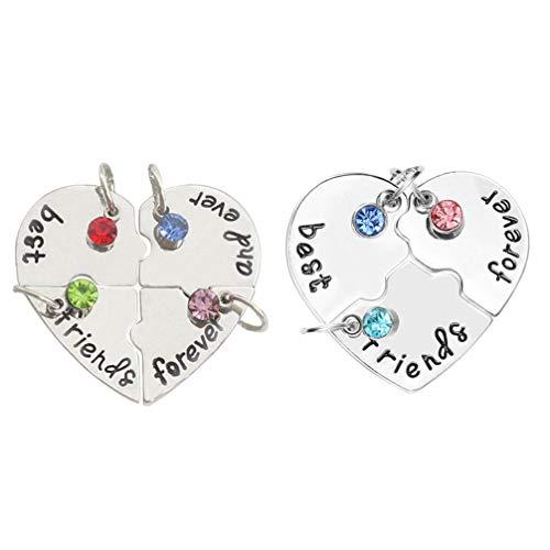 TOYANDONA 2 Juegos de Collar de Mejores Amigos para Siempre Y para Siempre Rompecabezas en Forma de Corazón BBF Amistad Colgante Collares Juego de Joyas para Regalos de Amistad