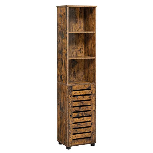VASAGLE Bathroom Tall Cabinet, Storage Cabinet with 3 Open Compartments and 2 Adjustable Shelves Behind The Door, Floor Cabinet for Living Room, Entryway, Kitchen, Bedroom, Rustic Brown UBBK160X01