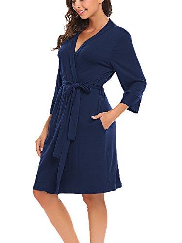 Bluetime Women Robe Soft Kimono Robes Cotton Bathrobe Sleepwear Loungewear Short (L, Navy Blue)