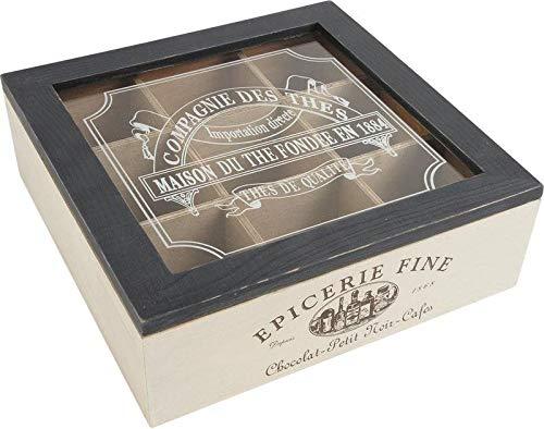 Teebox aus Holz mit französischer Aufschrift
