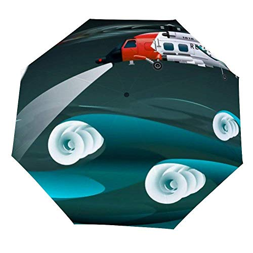 Klappschirmhubschrauber der Retter Linksansicht Rettungsfloß Palne Regenschirm Offen Schließen Winddichter Regenschirm Leichter kompakter Außenschirm Sonne & Regen