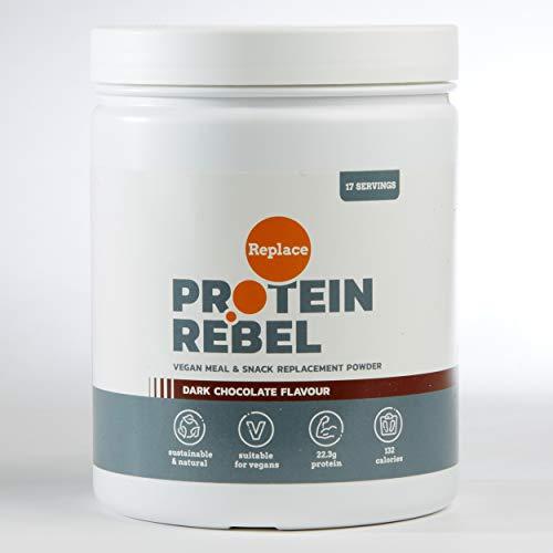 Rebel Replace Vegan Protein Powder - Lactose Free Protein Powder - 17 Servings (Dark Chocolate)