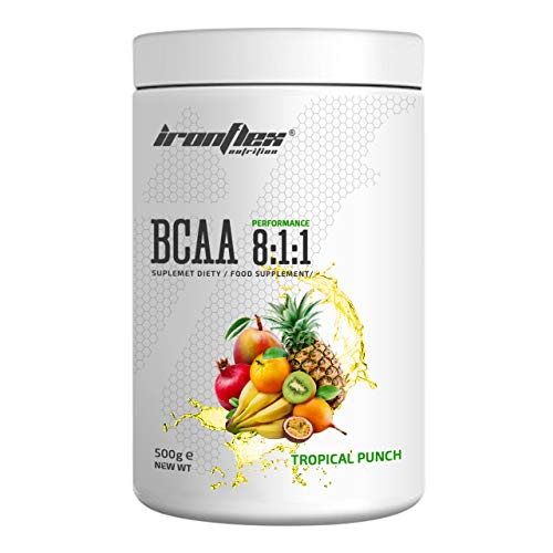 IronFlex BCAA 8:1:1-1 Pack - Branched Chain Amino Acids in Powder - Muscle Regeneration - Anticatabolic (Tropical Punch, 500g)