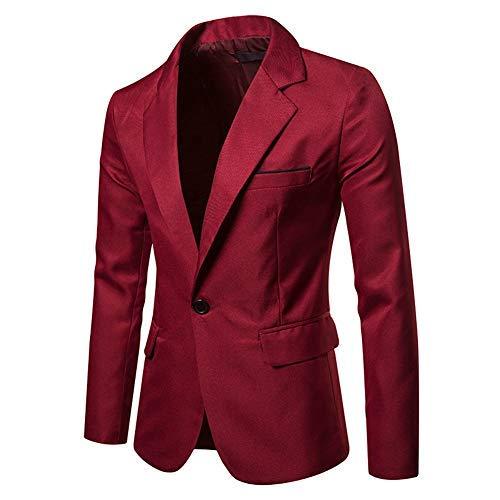 giacca rossa uomo YOUTHUP Blazer per Uomo Giacca da Abito Slim Fit Monopetto Leggero 1 Botton Elegante Vestito Giacche