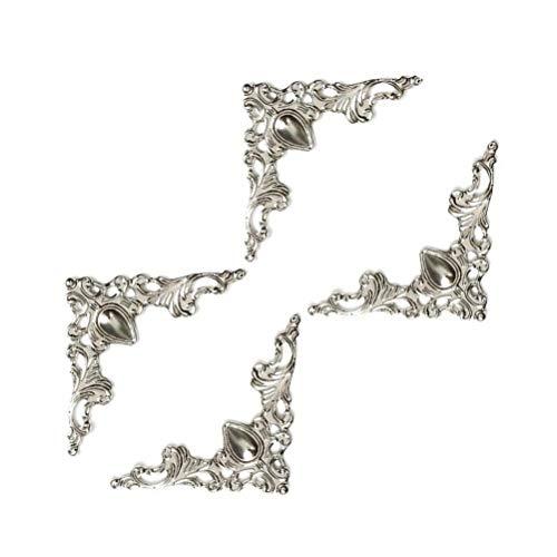 VORCOOL 24 Stück Antike Kantenabdeckung Kantenschutz Metall Eckenschutz Eisen Kasten Buch Album Vintage Ecken Dekoration (Silber)