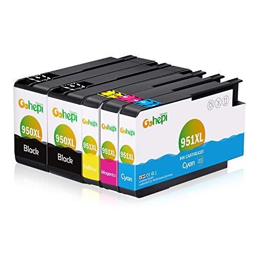 Gohepi 950XL/951XL Kompatibel für Druckerpatronen HP 950XL 951XL HP Officejet Pro 8620 8610 8600 Plus 276dw 8100 8615 251dw 8625 8660 8640 8630 Patronen - 2 Schwarz/Blau/Rot/Gelb 5er-Pack