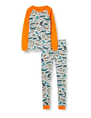Hatley Organic Cotton Long Sleeve Printed Pyjama Sets Conjuntos de Pijama, Gris (Rambunctious Reptile 020), 4 años para Niños