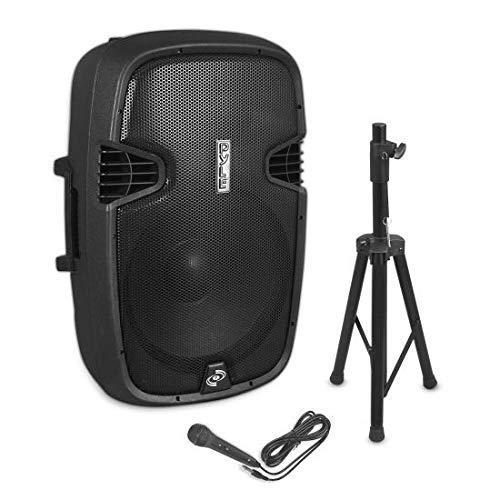 Aktiv-PA-Lautsprecher mit Fuß, Mikrofon und Bluetooth-Funktion von Pyle - 38 cm Subwoofer mit USB-Anschluss, SD-Karte und FM-Radio – Tragbarer Verstärker für DJ, Konzerte, Karaoke (EUPPHP155ST)