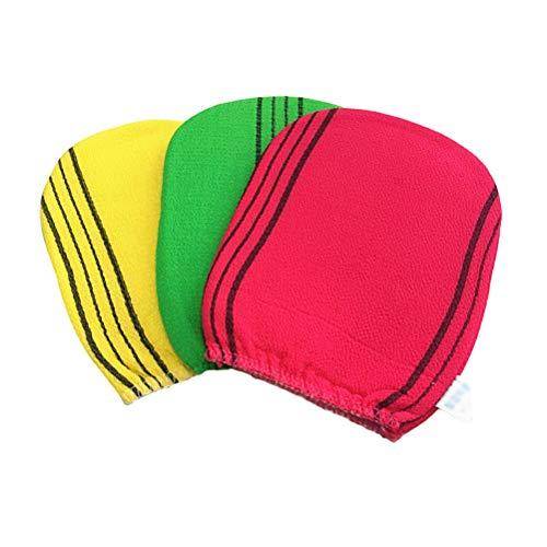 Beaupretty Gants de bain exfoliant gommage double face gant de douche pour femmes hommes, 3pcs (couleur aléatoire)