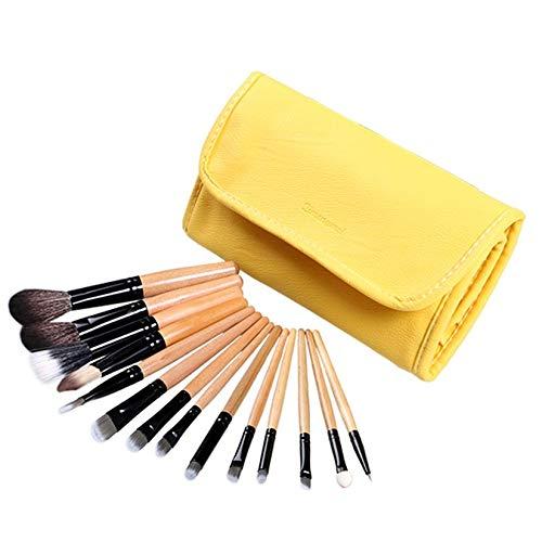 Pro 12pcs + 2 pinceaux de maquillage gratuits brosse avec étui cosmétique conçu de manière exquise durable durable magnifique - jaune