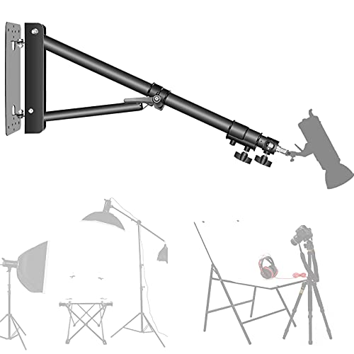 Wall Mounting Triangle Boom Arm for Ring Light, Support 180° Flexible Rotation, 28-51in Adjustable Length, Save Space, for Monolight, Softbox, Umbrella and Reflector