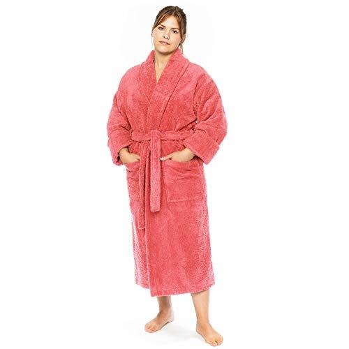 Classic Turkish Towels Luxury Terry Cloth Hotel Bathrobe - Premium 100% Turkish Cotton Robe Unisex (Medium, Pink)