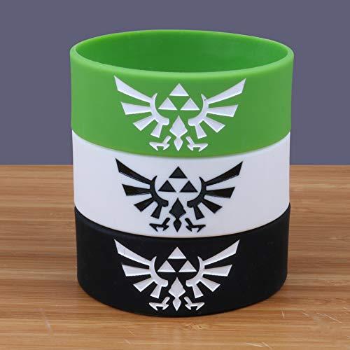 Xi-Link La Leyenda de Zelda Ancha Pulsera de Silicona Anillo de la Mano de 1 Pulgada (Color : White)
