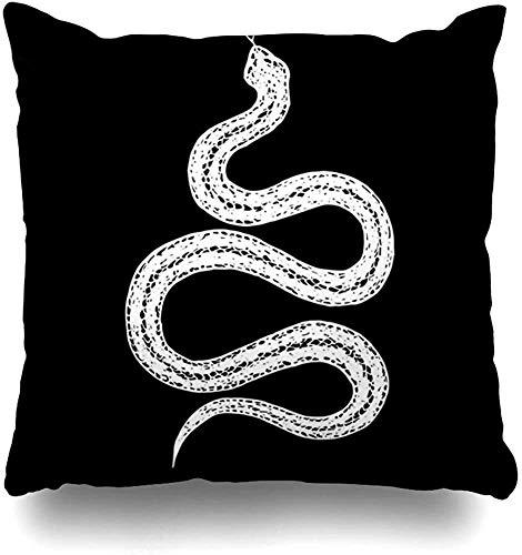 JONINOT 2PCS Kissenhülle Wild Bite Vintage Schlange Anaconda Schwarz Reptil Boa Cobra Gruselige Gefahr Gezeichnet Wärme Bunte Wohnkultur 18