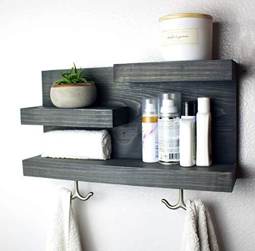 Amazon Com Bathroom Shelf Organizer With Towel Hooks Modern Farmhouse 100 Handmade In Usa Handmade