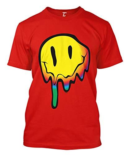 Melting Smile Face - Psychedelic Drug Acid Men's T-Shirt (Red, X-Large)