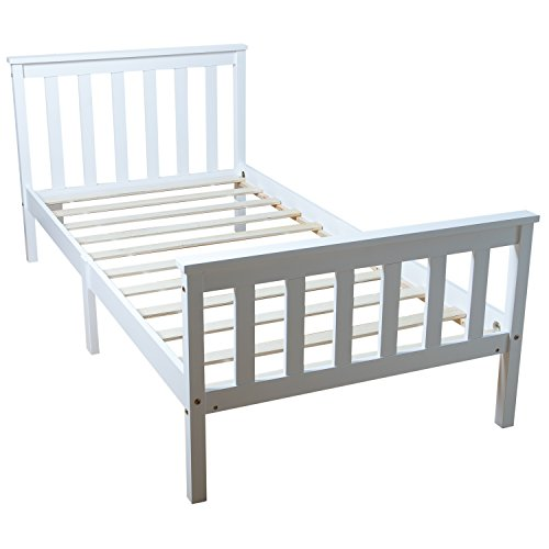 Home Treats Single Bed White. Solid Wooden Bed Frame For Adults, Kids, Teenagers 3ft Single