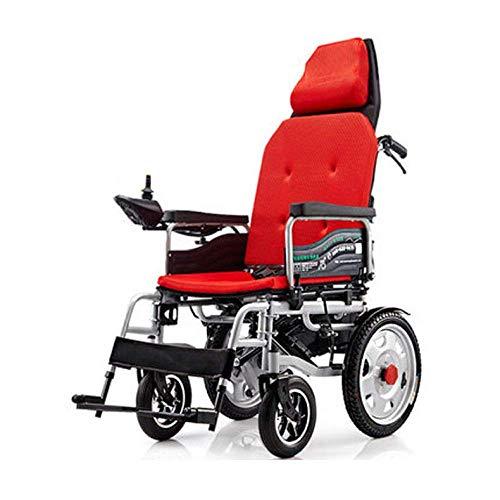 CHHD Faltbare elektrische Rollstühle, elektrischer Rollstuhl Behinderter Rollstuhl Auto Älterer elektrischer Rollstuhl kann vollständig zusammengeklappter klappbarer Rollstuhl, rot Sein