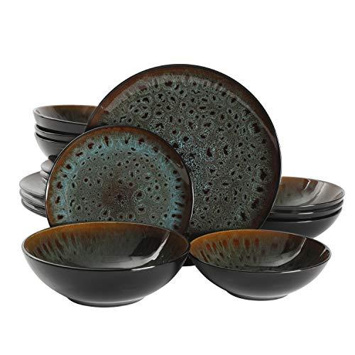 Gibson Elite Kyoto Double Bowl Dinnerware Set, Service for 4 (16pcs), Teal