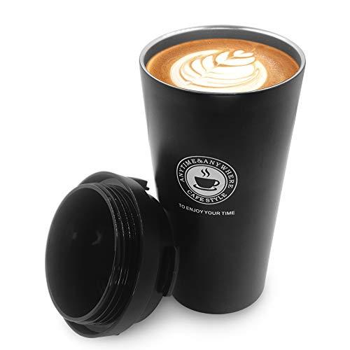 Maxesla Reisebecher – 500 ml doppelwandiger Kaffeebecher, isolierter Kaffeebecher, Vakuum-Edelstahl mit auslaufsicherem Deckel, BPA-freier Trinkbecher mit verdickter Thermohülle, schwarz