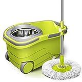 GONGFF Mop Bucket Set 360 & deg;Centrifugado con 2 Cabezales de Repuesto para la Limpieza del Piso Secado y Lavado automático con manija Ajustable