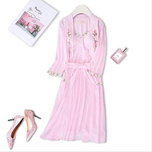 XFLOWR Vrouwen en zomer roze nachthemd zachte chiffon gebreide jas + rok 2 stuks dames slaap robe comfort losse Homewear